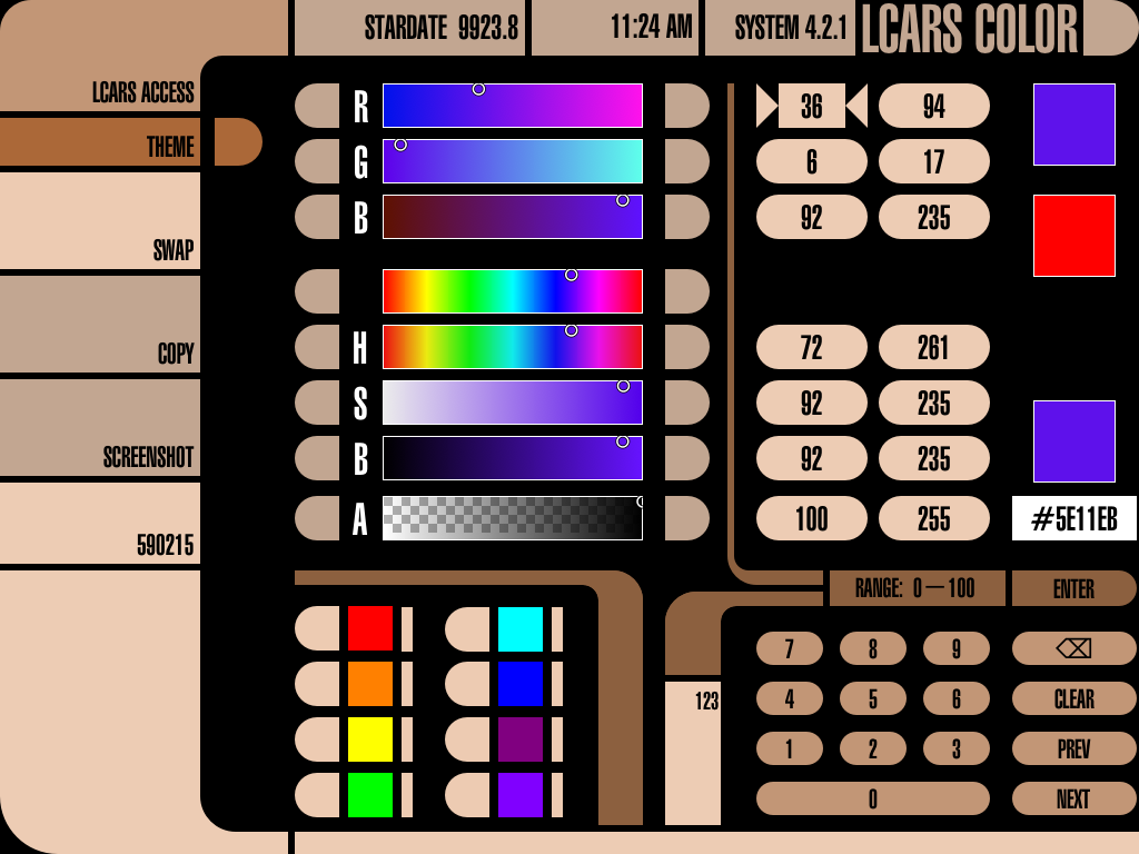 LCARS Color Calc Panel
